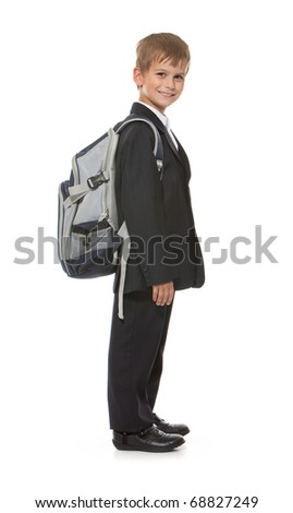 Schoolboy  isolated on a white background - stock photo