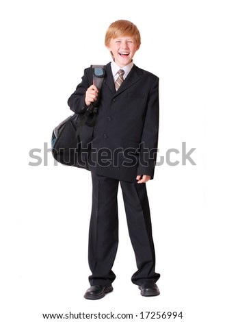 schoolboy isolated on white - stock photo
