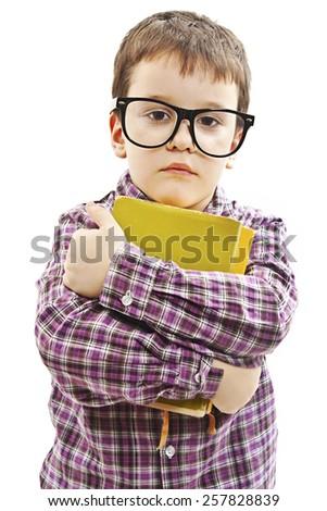 Schoolboy. Isolated on white background - stock photo