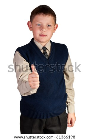 Schoolboy. Isolated over white background. The boy is dressed in a vest.