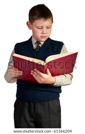 Schoolboy. Isolated over white background. The boy is dressed in a vest. - stock photo