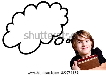schoolboy over white background with strip cartoon - stock photo