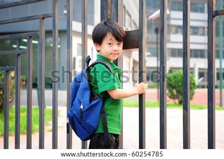 Schoolboy ready for school - stock photo