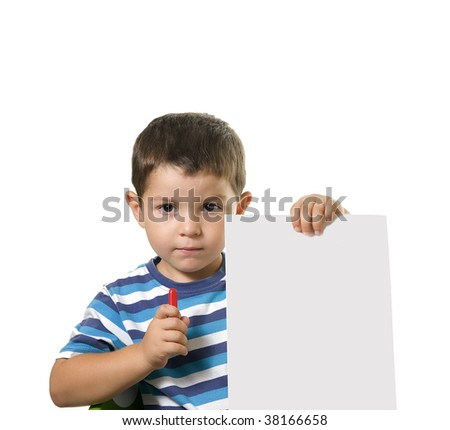 Schoolboy ready to paint, write or draw on the blank paper ( isolated on white )