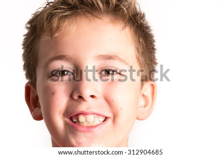 Schoolboy studio portrait - stock photo