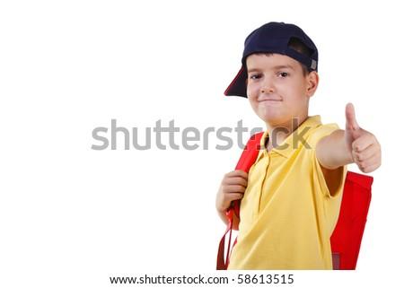 schoolboy, white isolated - stock photo