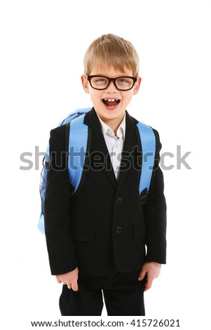 Schoolboy with backpack isolated on white - stock photo