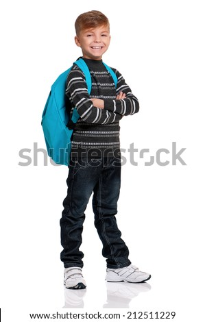 Schoolboy with backpack, isolated on white background - stock photo