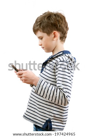 schoolboy with your tablet-PC - stock photo