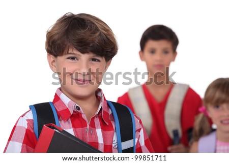 schoolboys - stock photo