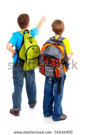 schoolboys. Isolated over white background - stock photo