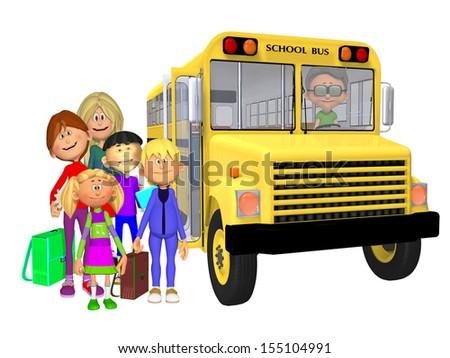 Schoolchildren 3d and schoolbus - stock photo