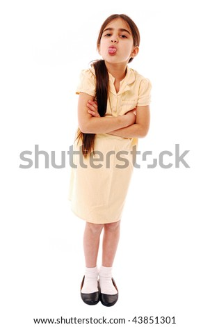 Schoolgirl being mean isolated on white