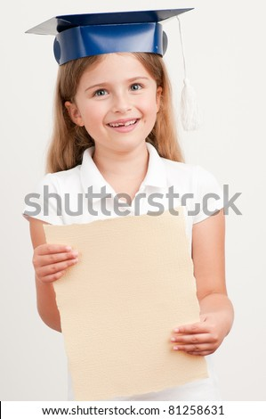 Schoolgirl - best schoolgirl with certificate - stock photo