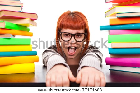 schoolgirl between pile of books, don't go back to school, isolated on white - stock photo