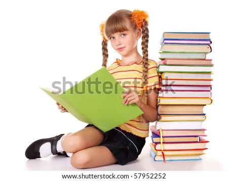 Schoolgirl  holding pile of books. Isolated. - stock photo
