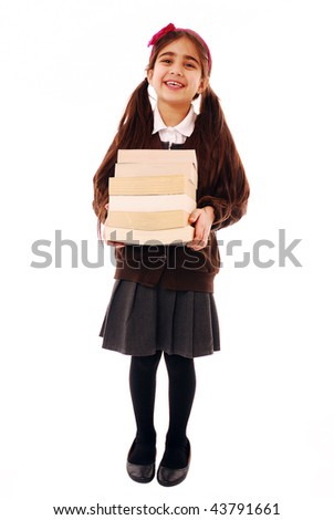 Schoolgirl holding stack of books isolated on white