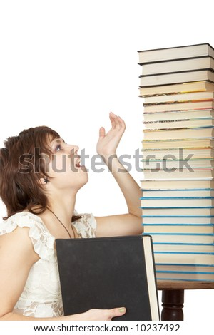 schoolgirl holds the book - stock photo
