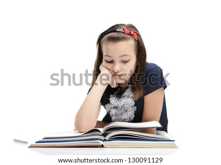 Schoolgirl is tired of studying, isolated, white background - stock photo