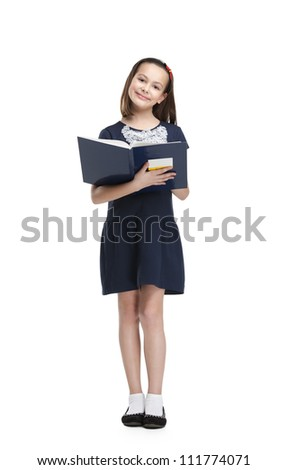 Schoolgirl likes to read books, isolated, white background
