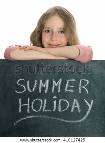 Schoolgirl over blackboard with Summer Holiday text.