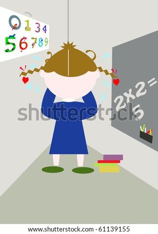 schoolgirl punished - stock photo