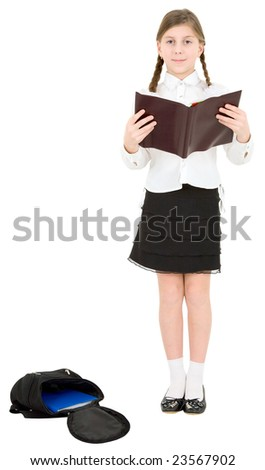 Schoolgirl reading brown book on a white