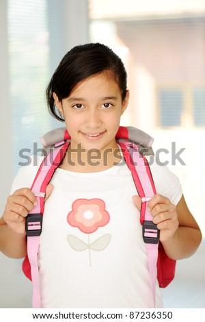 Schoolgirl, school girl - stock photo