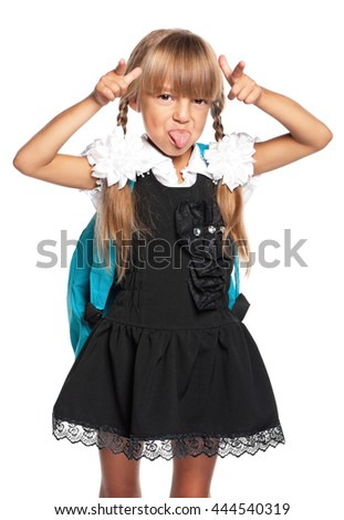 Schoolgirl showing a gesture - i am cow, isolated on white background - stock photo