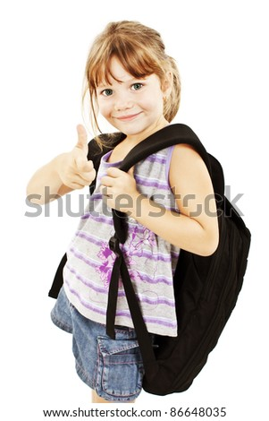 Schoolgirl showing OK sign isolated on white - stock photo