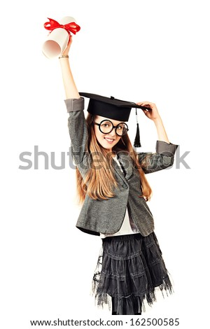 Schoolgirl successfully complete high school and receive a diploma. Isolated over white. - stock photo