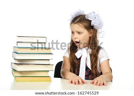 schoolgirl upset - stock photo
