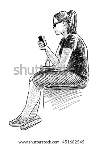 schoolgirl with a mobile phone