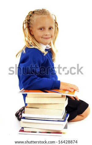Schoolgirl with a pile of books