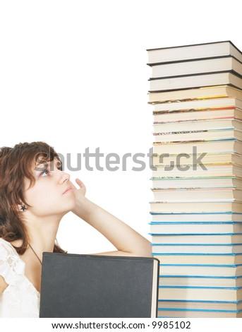 schoolgirl with book - stock photo