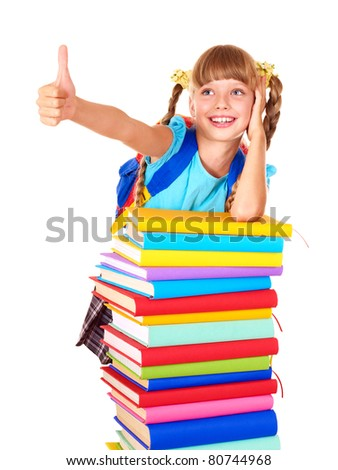 Schoolgirl with pile of books and showing thumb up. Isolated. - stock photo