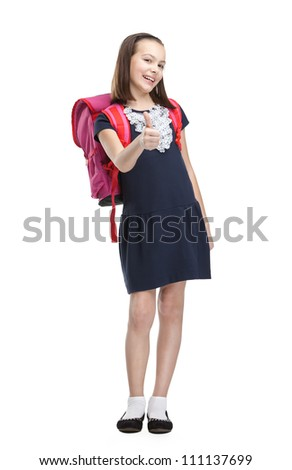 Schoolgirl with pink briefcase, isolated, white background - stock photo
