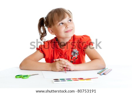 Schoolgirl with red pencil isolated - stock photo