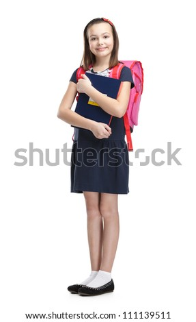 Schoolgirl with the briefcase, isolated, white background - stock photo