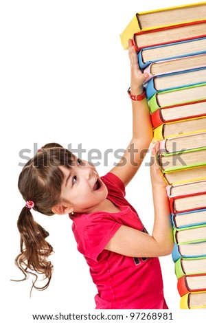 Schoolgirl with the falling pile of books. Isolated over white - stock photo