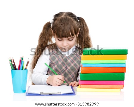 schoolgirl write test. isolated on white background - stock photo