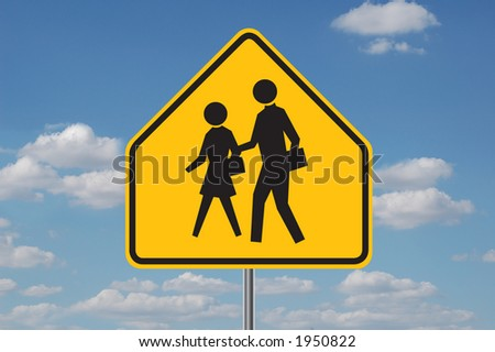 Schools warning sign with clouds in the background - stock photo