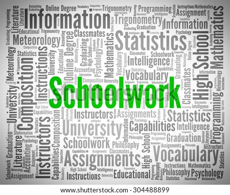 Schoolwork Word Meaning Assignment Exercise And Text