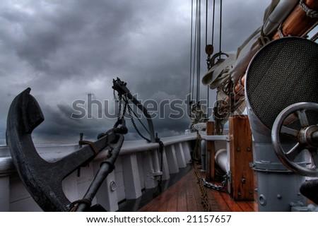 Schooner at sea - stock photo