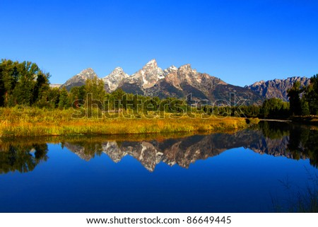 Schwabacher's Landing in the Grand Teton National Park in Wyoming - stock photo