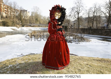 SCHWAEBISCH HALL - FEBRUARY 12: An unidentified person in costume at the event HALLia VENEZiA in the old town Schwaebisch Hall February 12, 2012