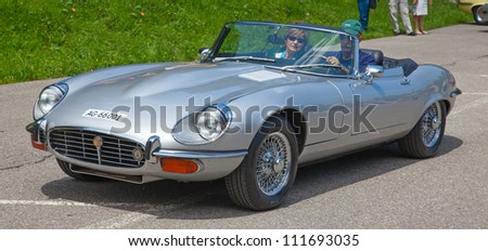 "SCHWAEGALP - JUNE 27: Famous Jaguar XG on the 7th International ""Oldtimer meeting"" in Schwaegalp, Switzerland on June 27, 2010 - stock photo"