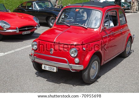 """SCHWAEGALP - JUNE 27: Fiat 500 (on the 7th International """"Oldtimer meeting"""" in Schwaegalp, Switzerland on June 27, 2010. Fiat 500 of the most famous small car, manufactured in 1950-1960s - stock photo"""