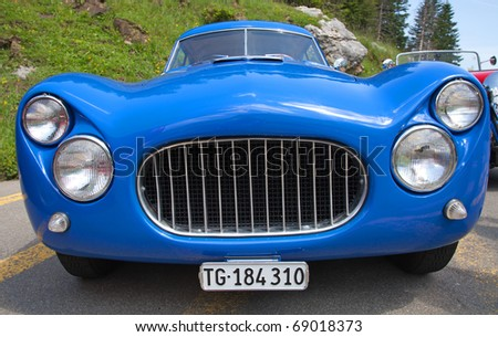 "SCHWAEGALP - JUNE 27: Fiat 8V sports car on the 7th International ""Oldtimer meeting"" in Schwaegalp, Switzerland on June 27, 2010.Only 114 cars were produced between 1952 and 1954. - stock photo"