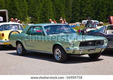 """SCHWAEGALP - JUNE 27: Ford Mustang on the 7th International """"Oldtimer meeting"""" in Schwaegalp, Switzerland on June 27, 2010. - stock photo"""